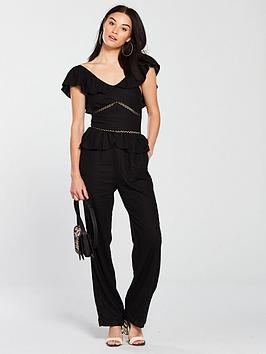 v-by-very-frill-detail-linen-jumpsuit-black