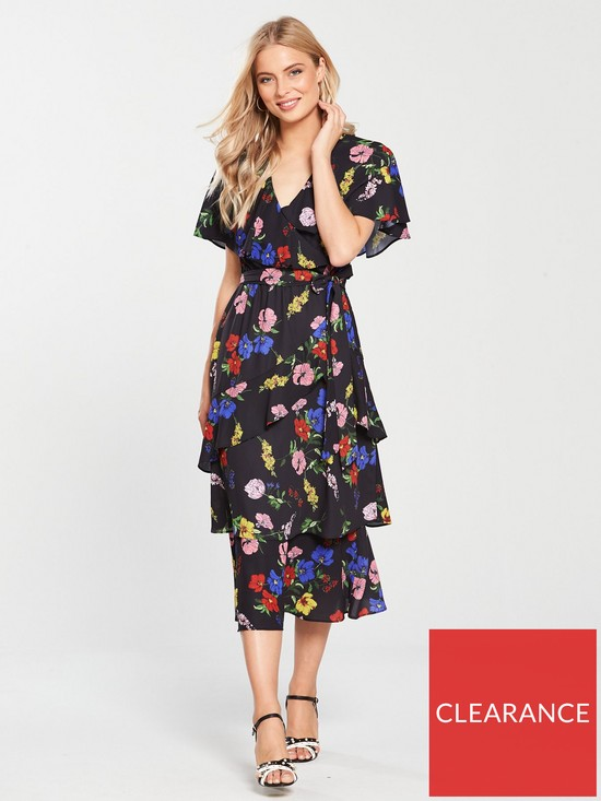V by Very Wrap Ruffle Midi Dress - Black Print  802c4298e