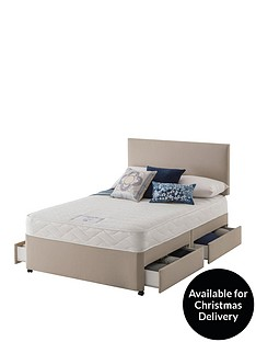 layezee-made-by-silentnightnbsplayezee-fenner-bonnel-memory-divan-bed-with-half-price-headboard-offer-buy-and-save