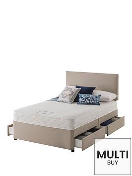 layezee-made-by-silentnightnbsplayezee-fenner-bonnel-memory-divan-bed-with-half-price-headboard-offer-buy-and-save