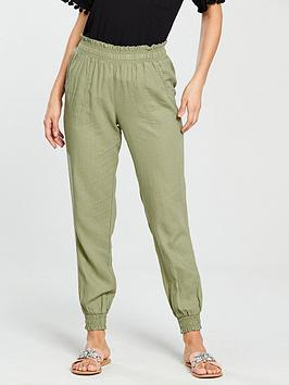 v-by-very-linen-mix-shirred-jogger-khaki