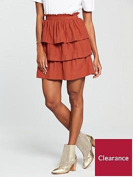 v-by-very-ruffle-linen-mix-mini-skirt-rust