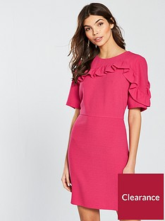 v-by-very-short-sleeve-frill-dress-pink