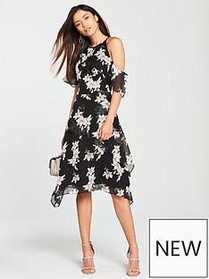 v-by-very-ruffle-one-sleeve-dress-black