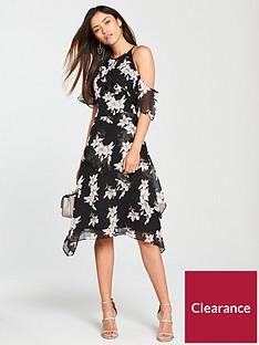 v-by-very-ruffle-one-sleeve-dress-black