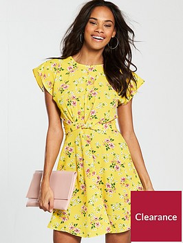 v-by-very-twist-front-skater-dress--nbspyellownbsp