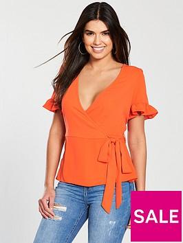 v-by-very-frill-sleeve-wrap-top-orange