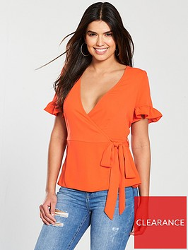 v-by-very-frill-sleeve-wrap-top-orange