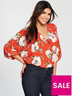 v-by-very-floral-wrap-bodysuit-red