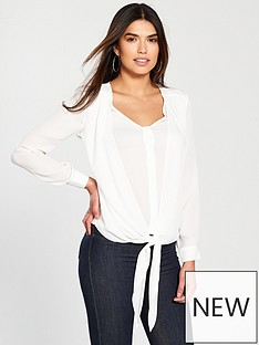 v-by-very-tie-front-blouse--ivory