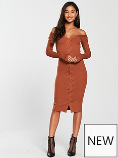 river-island-bodyfit-dress--dark-tan