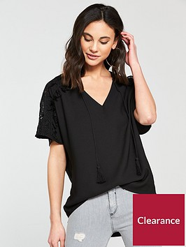 river-island-lace-sleeve-tshirt--black