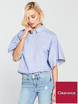 river-island-stripe-frill-sleeve-blouse-blue