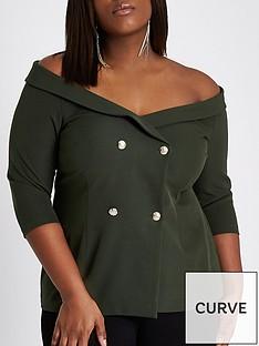 ri-plus-double-breasted-bardot-top--khaki
