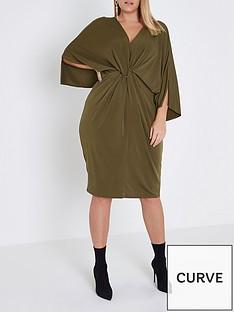 ri-plus-ring-plunge-dress--khaki