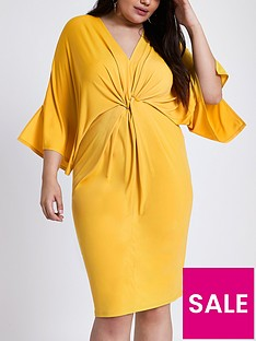 ri-plus-ring-plunge-dress--ochre