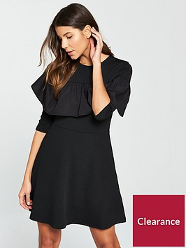 river-island-frill-texture-skater-dress--black