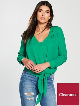 v-by-very-tie-front-blouse-green