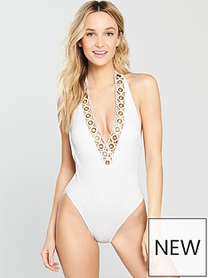 river-island-river-island-textured-eyelet-plunge-swimsuit--white