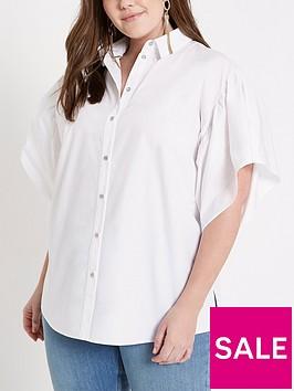 ri-plus-frill-sleeve-blouse--blue