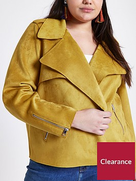 ri-plus-faux-suede-trench-jacket--yellow