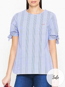 maison-labiche-bonjour-plaid-bow-sleeve-top-blue