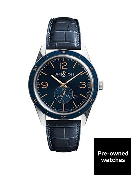 bell-ross-pre-owned-brv-123-vintage-blue-dial-stainless-steel-mens-watch