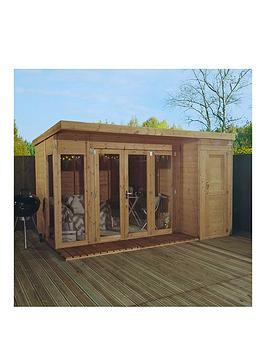 mercia-12nbspxnbsp8ft-premium-garden-room-summerhouse-with-side-shed-assembly-included