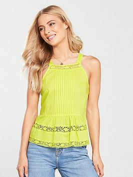 v-by-very-lace-trim-cami-lime