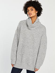 v-by-very-oversized-roll-neck-longline-jumper-grey-marl