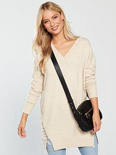 v-by-very-whipstich-detail-v-neck-longline-jumper-oatmeal-marl