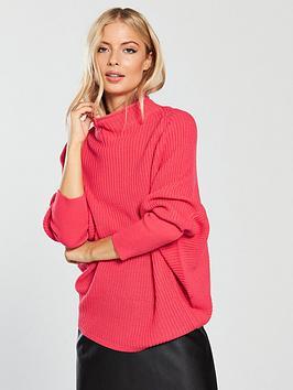 v-by-very-funnel-neck-rib-jumper-raspberry-pink