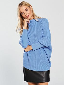 v-by-very-funnel-neck-rib-jumper-blue