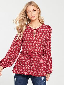 v-by-very-crinkle-peasant-tunic-red-print