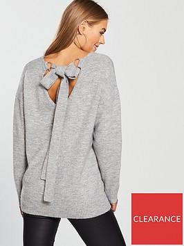 v-by-very-scoop-back-metal-ring-tie-detail-jumper-grey-marl