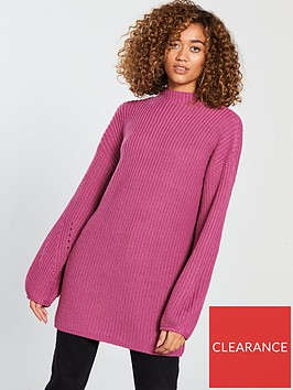 v-by-very-engineered-rib-blousonnbspsleeve-longlinenbspjumper-rose