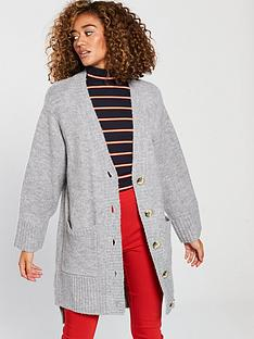 v-by-very-oversized-button-through-stepped-hem-cardigan-grey-marl