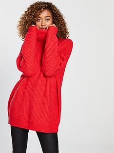 v-by-very-oversized-roll-neck-longline-jumper-rednbsp
