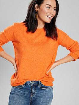 v-by-very-seam-detail-elliptical-hem-jumper-tangerine