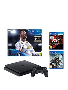 playstation-4-slimnbsp500gbnbspblack-console-withnbspdestiny-2nbspfifa-18-and-gt-sportnbspplus-optional-extra-controller-andor-12-months-playstation-network