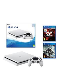 playstation-4-slimnbsp500gbnbspwhite-console-and-destiny-2-with-gt-sport-plus-optional-extra-controller-andor-12-months-playstation-network