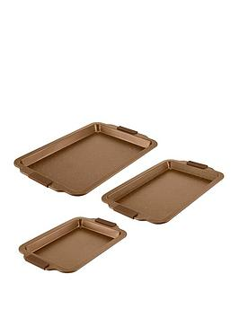 tower-cerastone-3-piece-non-stick-baking-tray-set-gold