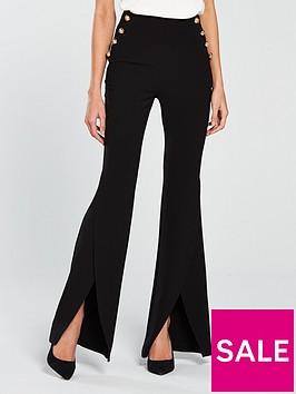v-by-very-split-flare-button-side-trouser-black