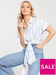 v-by-very-tie-front-stripe-shirt-bluewhite