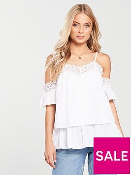 v-by-very-crochet-trim-cold-shoulder-top-white