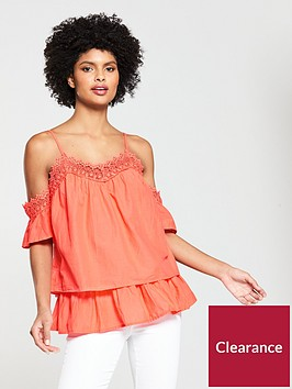 v-by-very-crochet-trim-cold-shoulder-top-coral