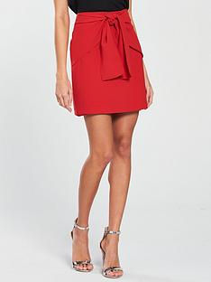 v-by-very-knot-front-skirt-red