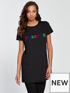 v-by-very-forever-flocked-longline-t-shirt-black