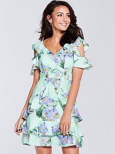michelle-keegan-printed-ruffle-tea-dress