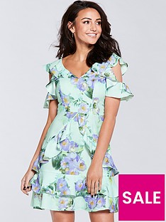 michelle-keegan-printed-ruffle-tea-dress